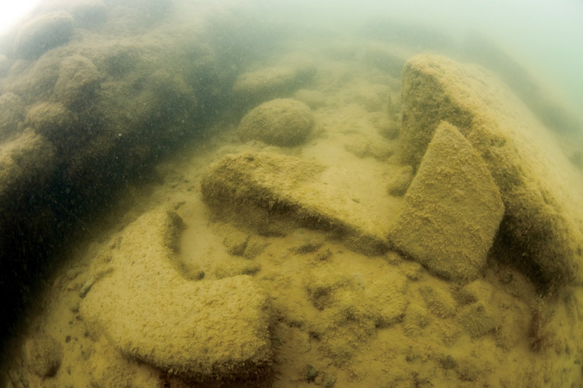 Detail from the architectural remains of a basilica found beneath Lake Iznik. Bursa, Turkey.