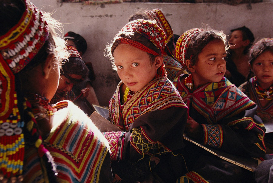Children from the distinctively ethnic group of the Kalash. Chitral, Hindu Kush Mountains Pakistan. Photo: James L. Stanfield/National Geographic Creative.