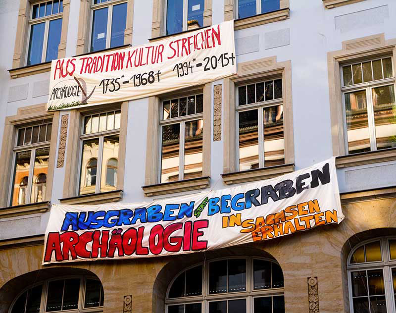 Archaeologists protest against the planned closure of the Leipzig Institute of Classical Archaeology. Photo: C. Grube.