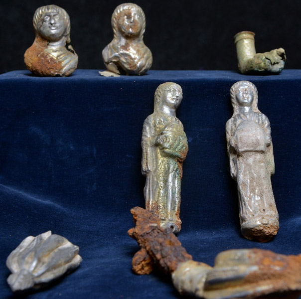 Silver statuettes believed to be from a military commander's chair. Roman. Late Antiquity, Rhineland-Palatinate, Germany.