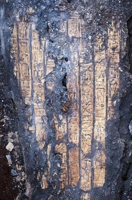 Detai from the gilded cartonnage covering a mummy and bearing cartouche. Tel Tabla, Dakaliya, Egypt. Photo: Egyptian Emporium.