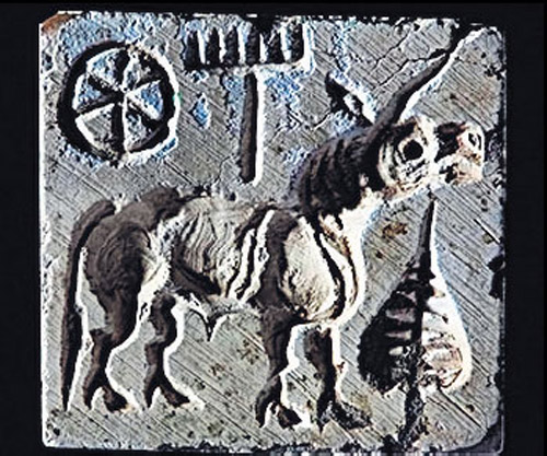 The unicorn seal from Karanpura, Rajastan, India. Mature Harappan period (2600-1900 BC)