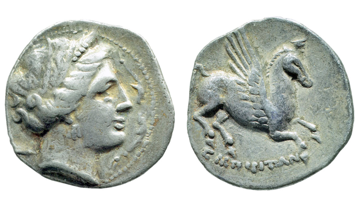 Emporion (Empúries), Spain. Silver drachma, after 218 BC. Alpha Bank Numismatic Collection.