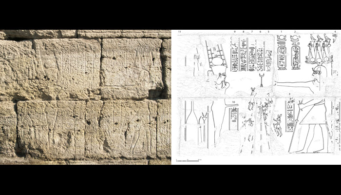 Claudius performing rituals before God Min. Temple of Isis at Shanhur, Egypt. Photo: by Marleen De Meyer. Line drawing: Troy Sagrillo