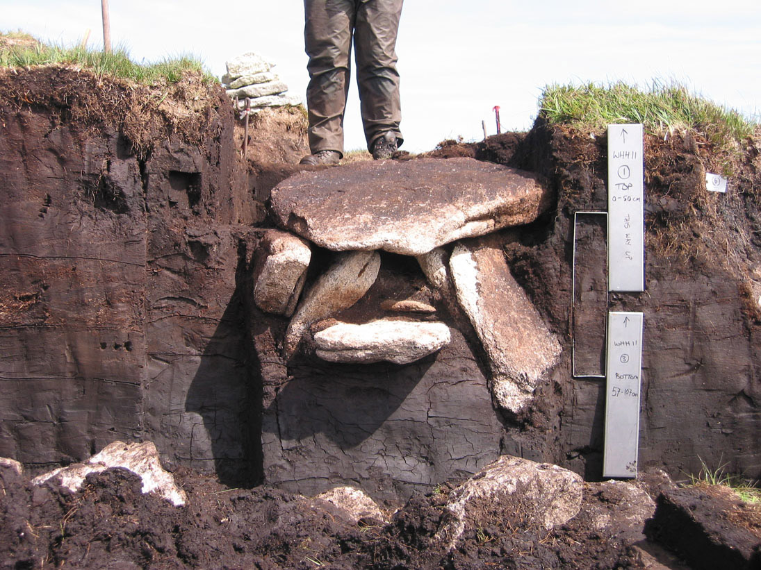 Cist grave in situ. Whitehorse Hill, Dartmoor, UK. Around 2000 BC. Image: The Guardian.