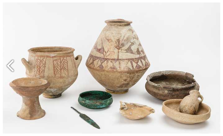 Dishes discovered in a tomb where they were deposited to provide food for the deceased. Megiddo, Israel, ca. 1300–1200 BC.