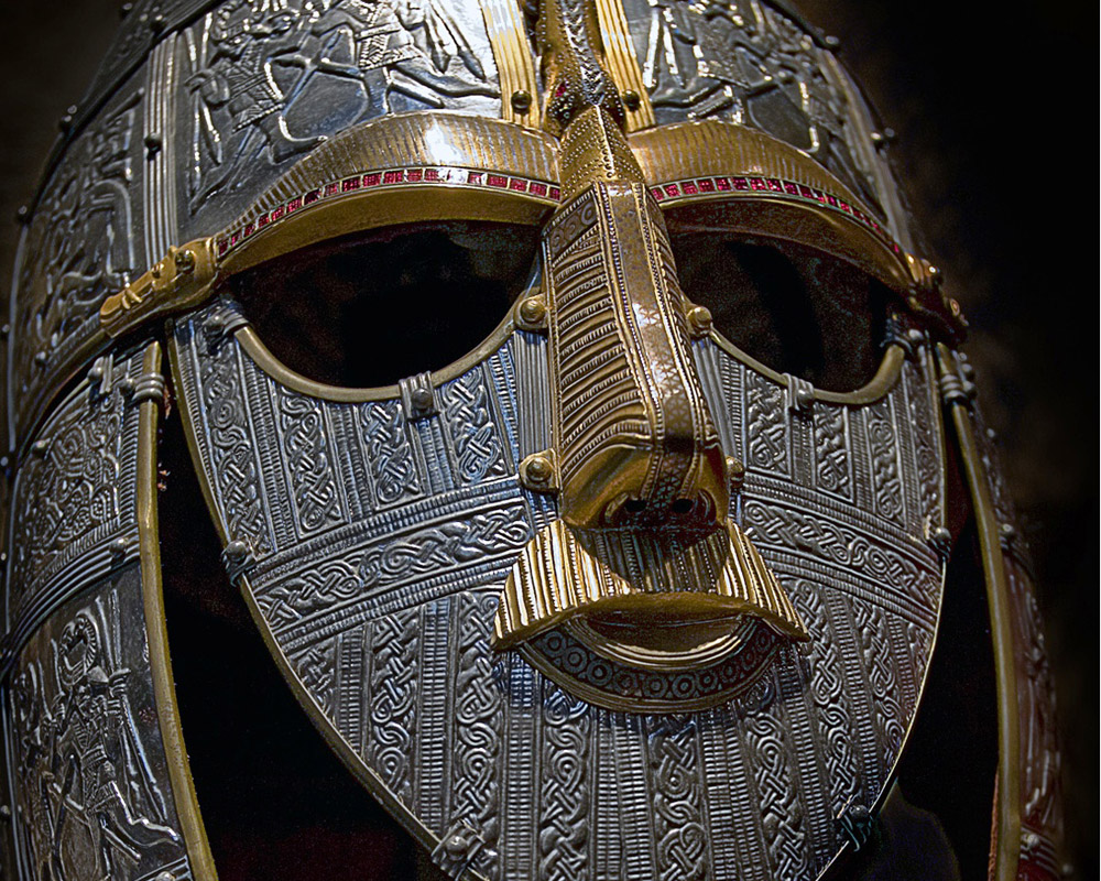 Replica of the helmet from the Sutton Hoo ship-burial. British Museum, UK.