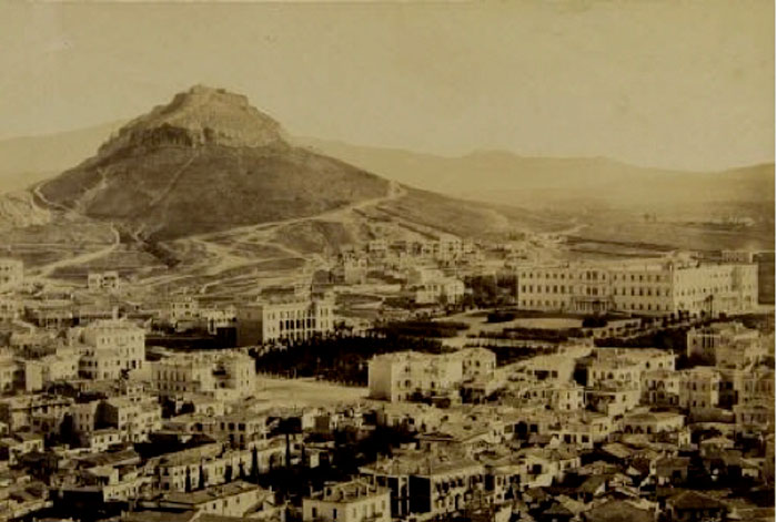 Fig. 1. Syndagma Square aand the Lycabettus Hill, circa 1865. Dimitrios Konstantinou (Phot. Arch. 1 33). Photographic Archive of the Benaki Museum.