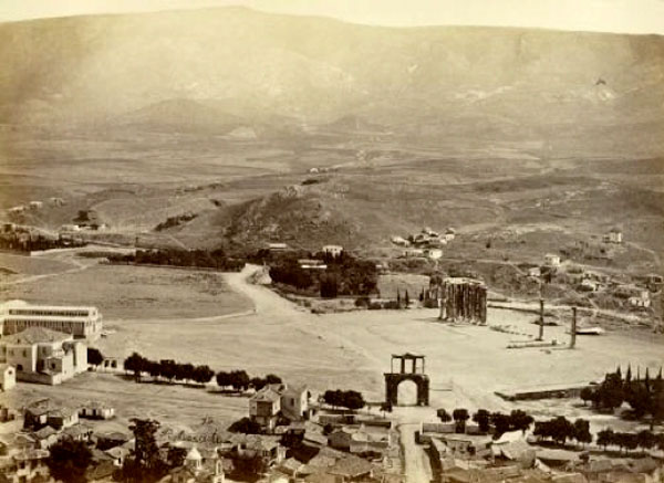 Fig. 2. Panoramic view of the Olympeion and Zappeion area in Athens, circa 1870. Petros Moraitis (Phot. Arch. 1 1279).  Photographic Archive of the Benaki Museum.