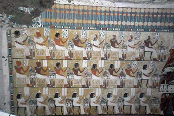 Decorated wall from an official's tomb. Elephantine, Egypt, New Kingdom. Photo: Nevine el-Aref.