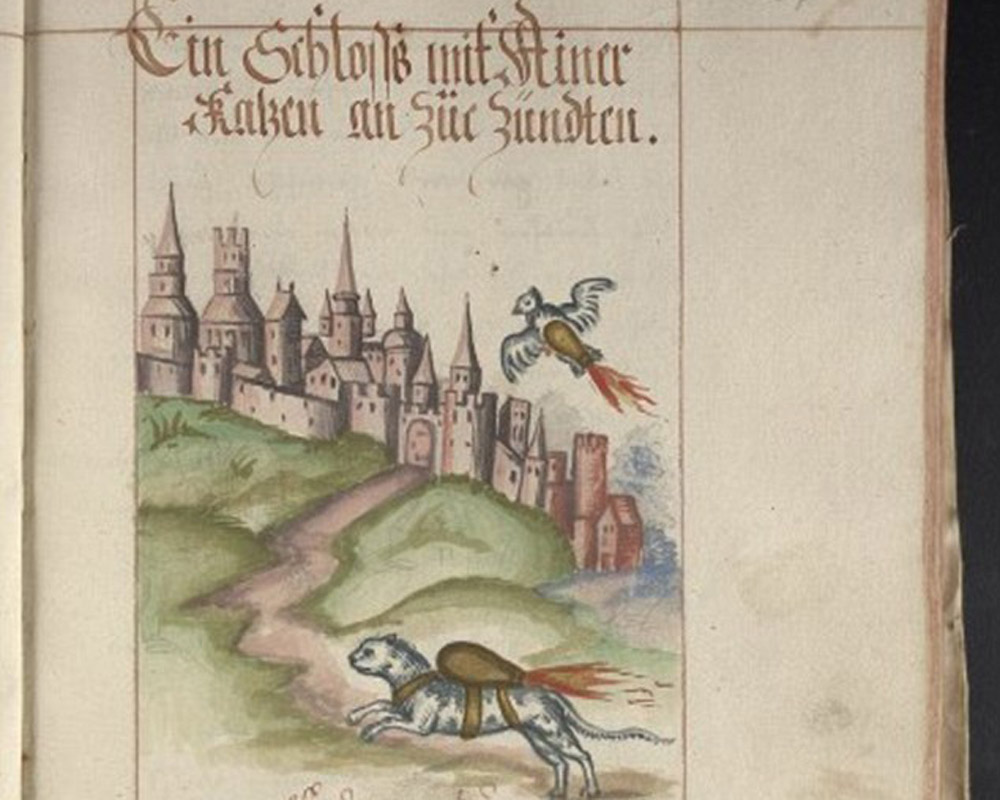 A bird and a cat strapped with explosives fly towards a castle. Illustration from an artillery manual by Franz Helm, c. 1530. Digitized by the University of Pennsylvania. Image: The Independent.