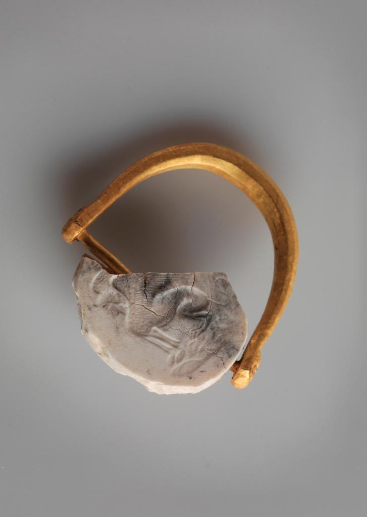 Signet ring found in the Royal Necropolis at Vergina (Aigai), cluster of the Temenids. Central Macedonia, Greece.