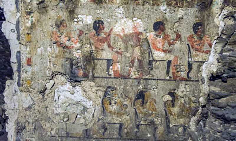 Banquet scene. Tomb of Maay, 18th Dynasty, Sheikh Abd-el-Qurna, Egypt. Photo: Ahram.