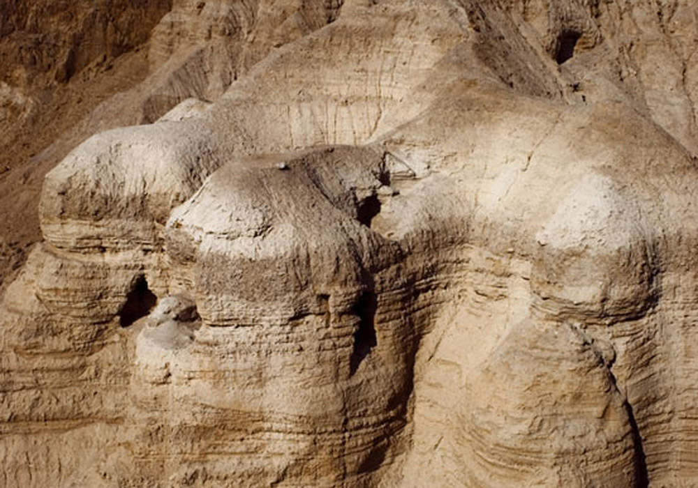 Aerial view of the caves at Qumran. Photo: Dejan Gileski via Pinterest.