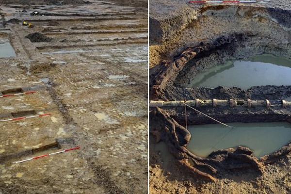 Traces of Roman irrigation system found near Cambridge, UK. Photo: Dave Webb/BBC.