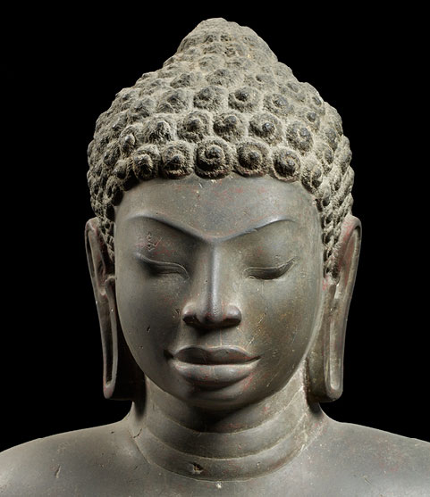 Buddha (detail). Provenance unknown, central Thailand, first half of the 7th century. Sandstone; H. 67 3/8 in. National Museum, Bangkok.