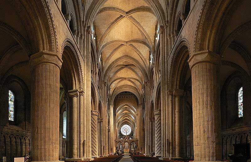 The nave of Durham Cathedral in 2010. Source: Wikimedia Commons.