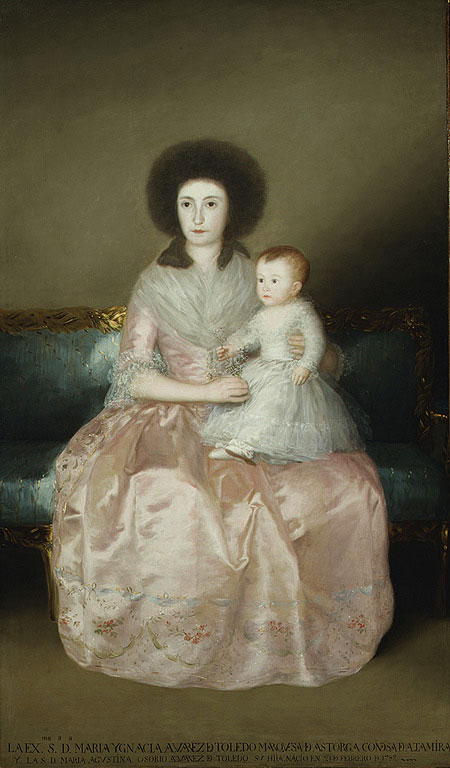 Fig. 2. Francisco de Goya y Lucientes (Spanish, 1746-1828). Condesa de Altamira and Her Daughter, Maria Agustina, 1787-88. Oil on canvas; 76 7/8x45 1/4 in. (195x115 cm). The Metropolitan Museum of Art, New York, Robert Lehman Collection, 1975 (1975.1.148).