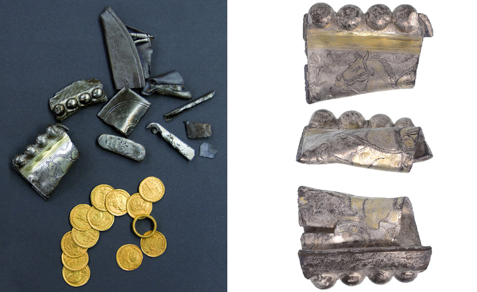 Overview of the Echt hoard consisting of an ensemble of coins, a ring, a silver ingot and fragments of silver tableware. Image: Limburgs Museum.