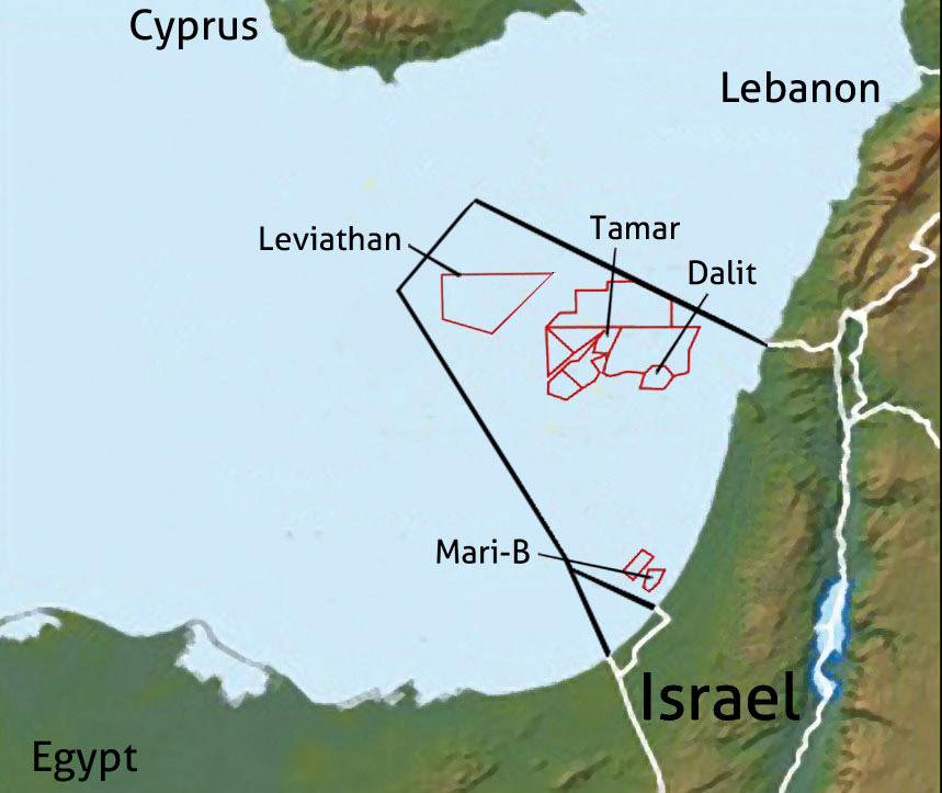 The area where Leviathan and neighbouring gas fields have been located. Eastern Mediterranean.