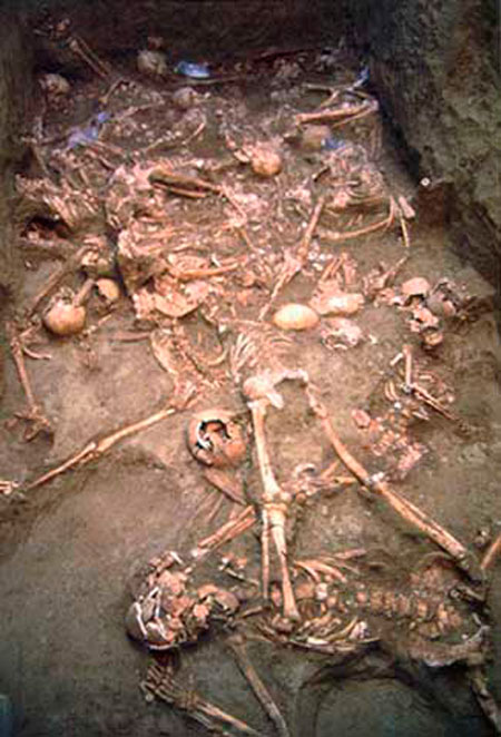 Fig. 1. One of the deposition phases of the group burial in Pydna. (http://antiquity.ac.uk/projgall/triantaphyllou/)