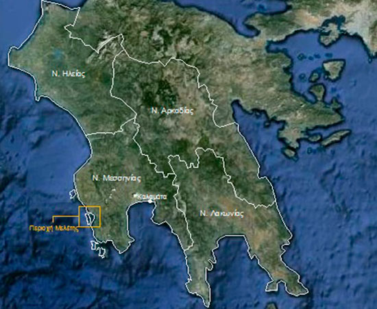 Fig. 1. The Navarino Bay region in the district of Messenia. Source: Google Earth (6.1.2012) processed by the author.