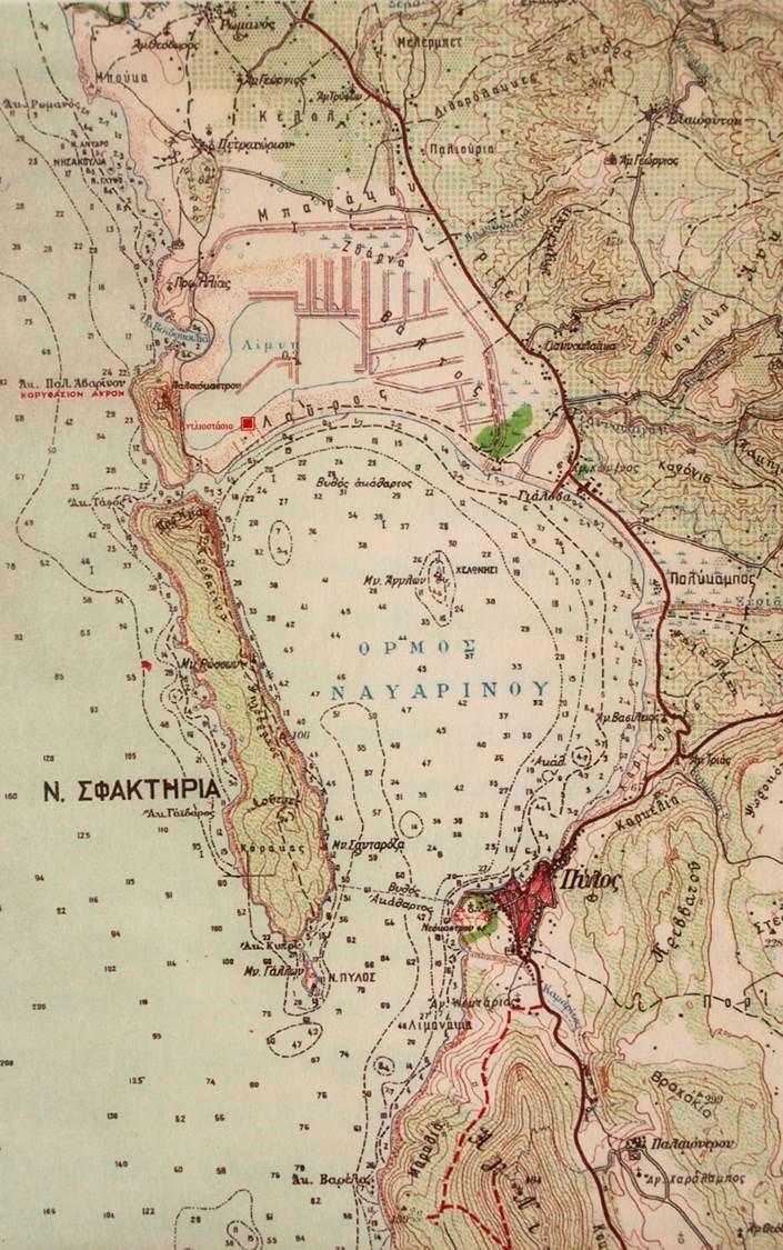 Fig. 2. Map of Navarino Bay region. Source: Ι. Καρυωτάκη, Μετατροπή, Αντλιοστάσιο, Γιάλοβα, Ροδακιό publications, Athens 2005.