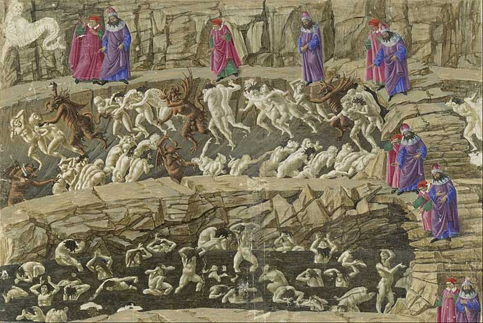 Botticelli's illustration for Dante's Divine Comedy. Inferno, Canto XVIII.