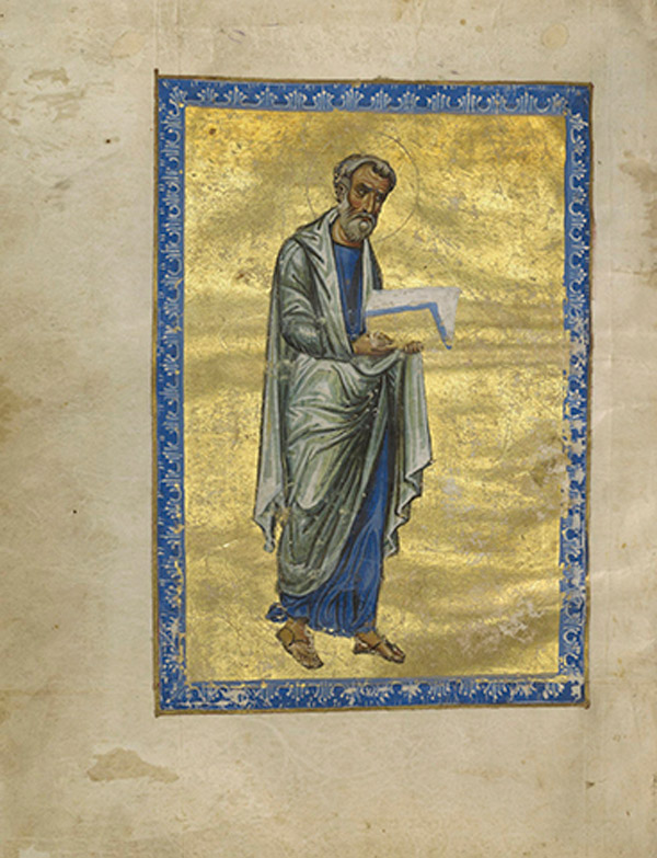 Saint Matthew, 1133. Artist Unknown. Byzantine. Tempera colors, gold leaf, gold paint, and ink on parchment. 22.1 x 18.1 cm (8 11/16 x 7 1/8 in.). The J. Paul Getty Museum, Los Angeles, Ms. Ludwig II 4, fol. 10v.