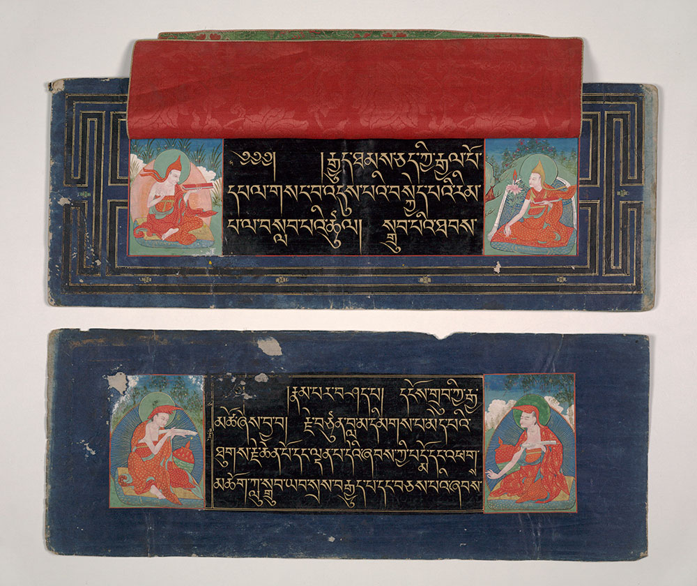 The Practice of the Two Stages of the Guhyasamājatantra (Cambridge University Library MS Add. 1666) Illuminated manuscript in gold and silver ink on black-indigo paper Tibet. 18th-19th centuries Purchased in Kathmandu by Dr Daniel Wright, 1876. Photo: University of Cambridge Museums.