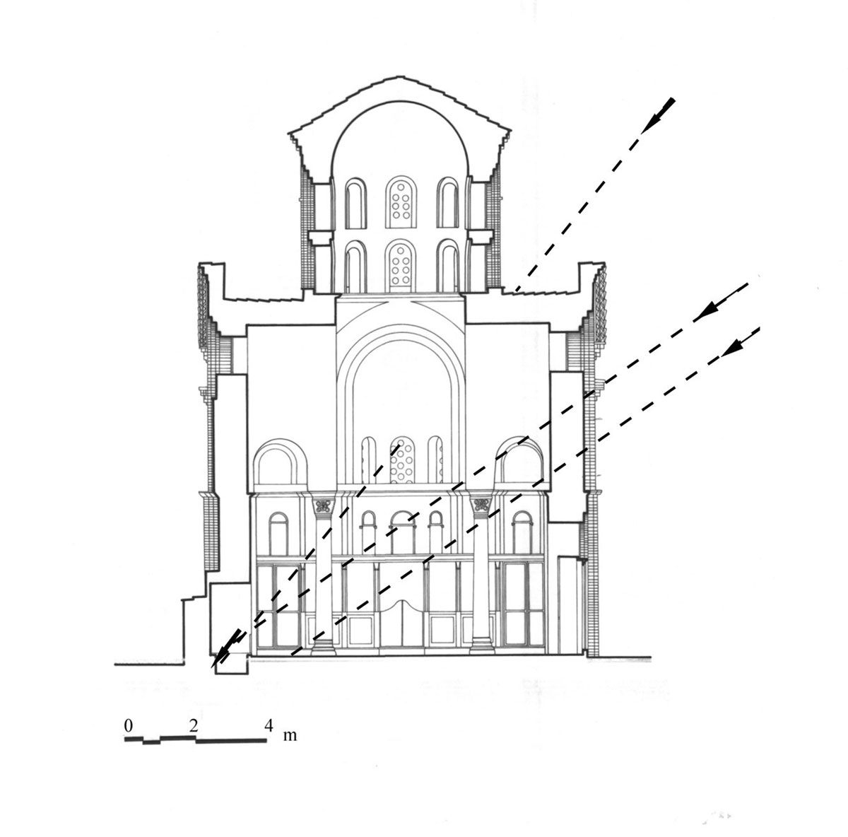 Fig. 11. Cross section widthwise, schematic depiction of sun rays via the apse windows and the south antenna of the cross.