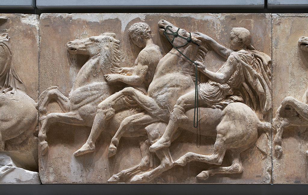 Horse riders of the west Parthenon frieze. (Photo: Giorgos Vitsaropoulos, © Acropolis Museum)