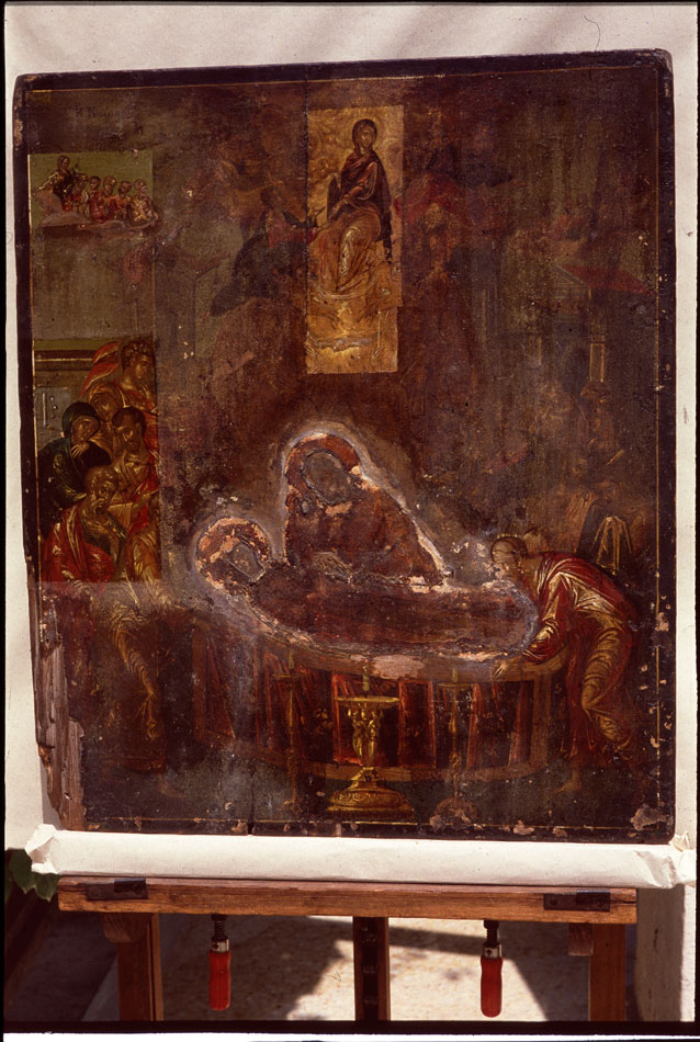 "Fig. 2. The icon of  ""The Dormition of the Mother of God"" by Theotokopoulos, during its conservation."