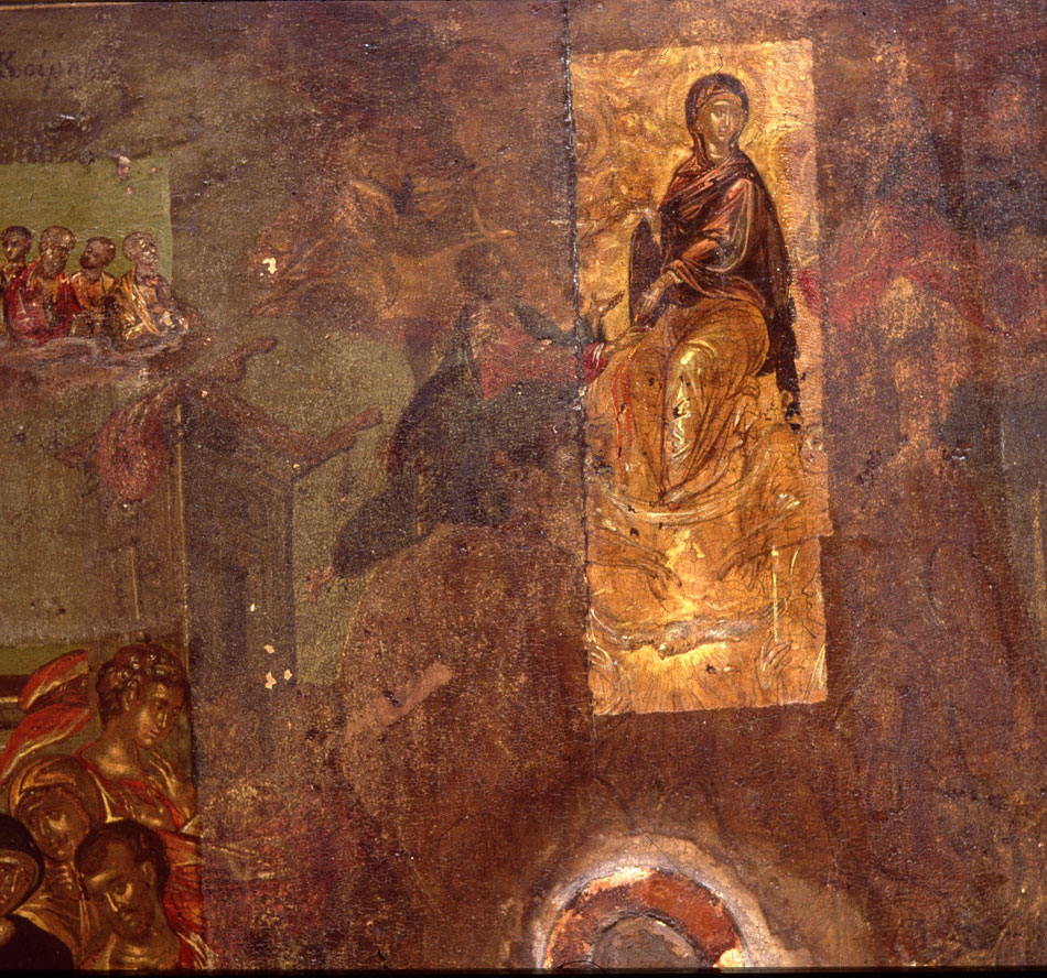"Fig. 3. The icon of ""The Dormition of the Mother of God"" by Theotokopoulos, during its conservation."