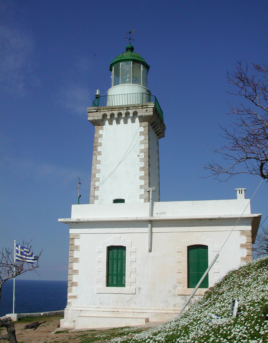 Fig. 4. Gourouni Skopelou. It first operated in 1884 on petrol as a source of energy, in the WWII it remained unlit and operated again in 1944. Since 1984 the lighthouse is powered by electricity and operates on a monitoring basis.