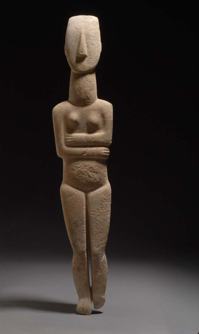 Marble Cycladic figurine depicting a female figure, 2800-2300 BC. National Archaeological Museum.