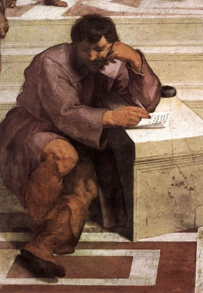 The School of Athens by Raphael (detail: Heraclitus, in the image of Michelangelo), 1509.