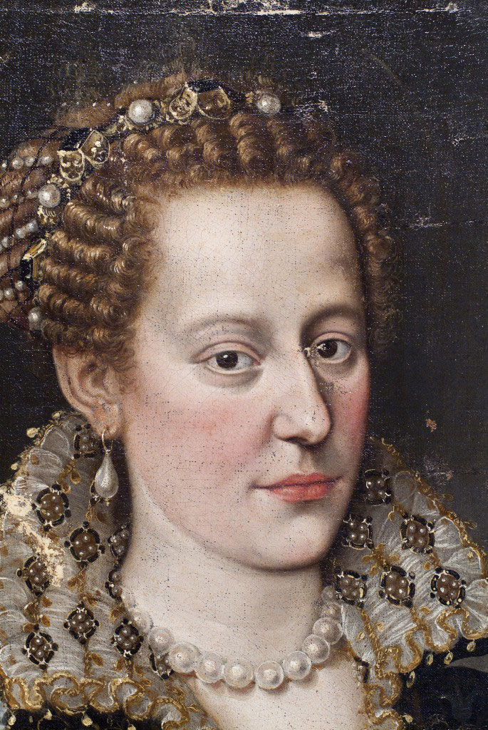 Portrait, probably of Isabella de' Cosimo I de Medici, c. 1574 (detail); Oil on canvas (transferred from panel); Florentine, 16th century; Gift of Mrs. Paul B. Ernst. Credit: Carnegie Museum of Art.