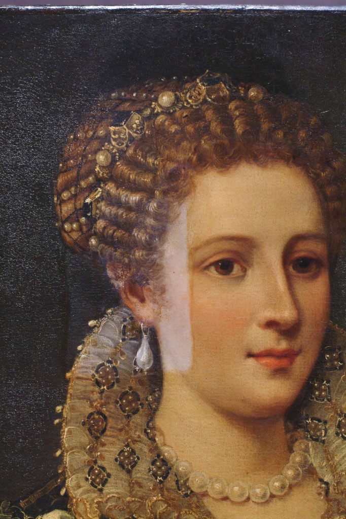 Portrait, probably of Isabella de' Cosimo I de Medici, c. 1574 (detail); Oil on canvas (transferred from panel); Florentine, 16th century;