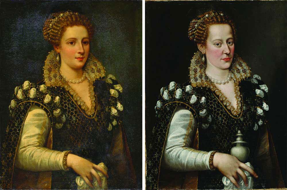 Isabella de Medici, before treatment (far left) and when the restoration was almost finished. Image: The Art Newspaper.