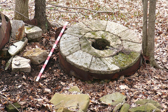 Millstone made of French buhr at the site of Clover Hill Mill, Trumbull County, Ohio. © SEPM