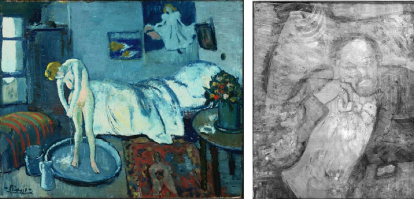 (Left) Pablo Picasso, The Blue Room, 1901, Oil on canvas. Acquired 1927. (Right) Infrared of Pablo Picasso's The Blue Room (1901). The Phillips Collection,  copyright 2008.