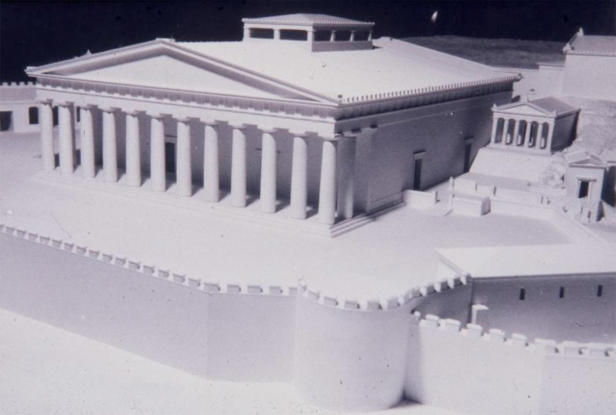 Fig. 2. The Portico of Philo, a beautiful building of the 4th c. BC, erected in front of the earlier Telesterion of Eleusis (model by Ioannis Travlos. Archaeological Museum of Eleusis).