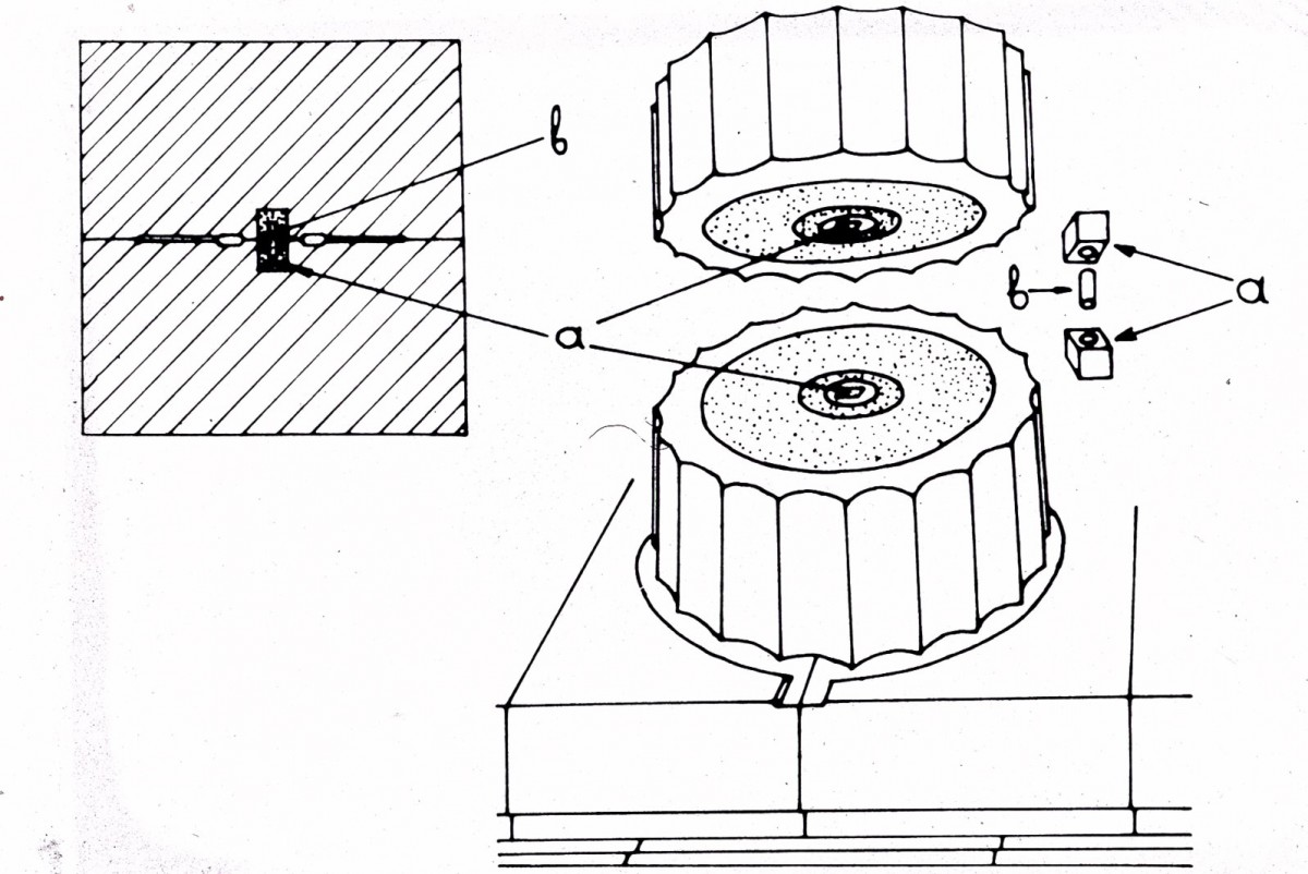 Fig. 3. Copy of poloi (b) and empolia (a) between two drums of a column.