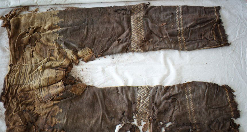 The oldest known trousers, including this roughly 3,000-year-old pair with woven leg decorations, belonged to nomadic horsemen in Central Asia. M. Wagner/German Archaeological Institute.