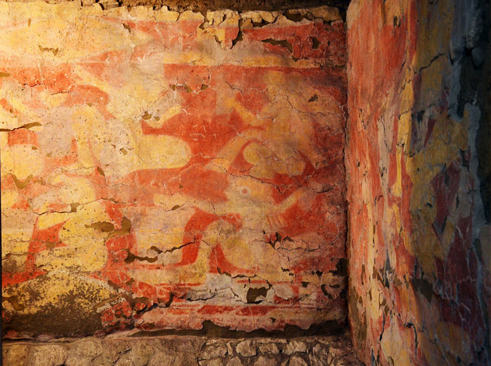 The mural painted around 1800 years ago still retains its vibrant colours. Image: Melitón Tapia INAH
