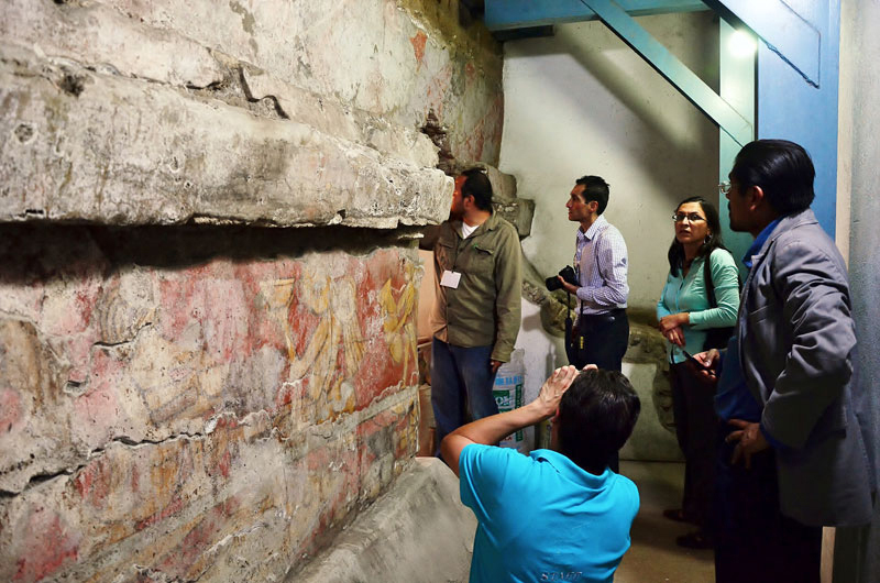 The murals of the archaeological zone of Cholula, Puebla, can be appreciated by the public through controlled visits. Image: Melitón Tapia INAH