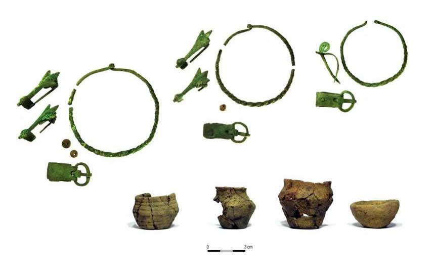Items in the grave, including cicada fibulae. Photo by Agata Wiśniewska.