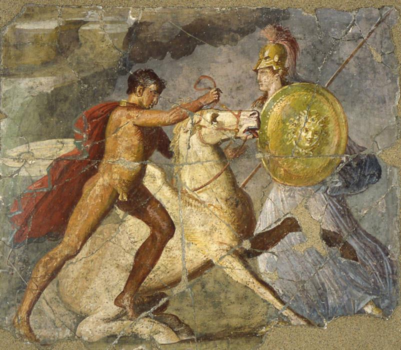 Athena, Pegasus and Bellerophon, Pompei-Casa dei Dioscuri (fresco).