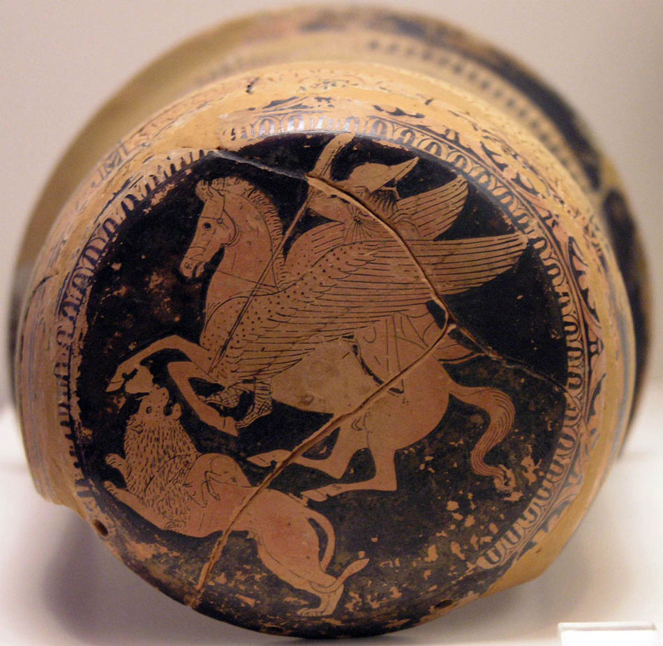 Bellerophon on Pegasus spears the Chimera, red-figure epinetron, 425-420 BC.  National Archaeological Museum, Athens.
